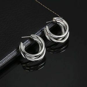 5 for $25 Silver Triple Hoop Statement Earrings